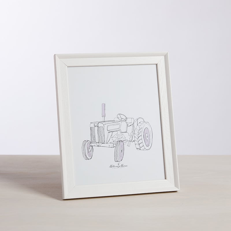 Milton and Manor Pink Vintage Tractor Framed Print