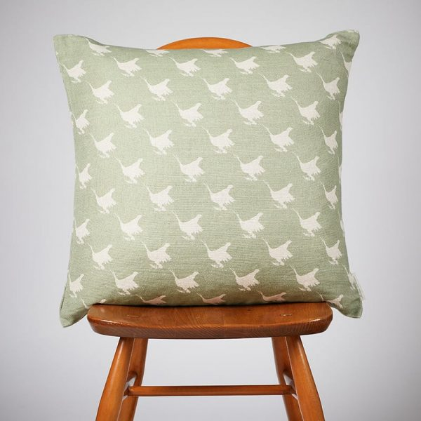 Milton and Manor Pheasant Green Block Large Cushion