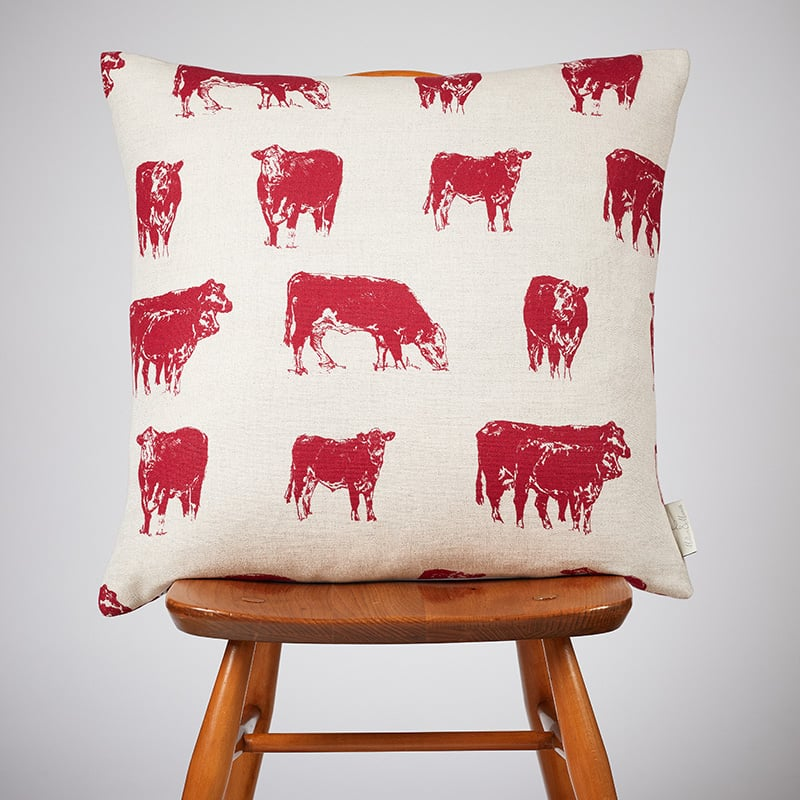 Milton and Manor Hereford Red Large Cushion