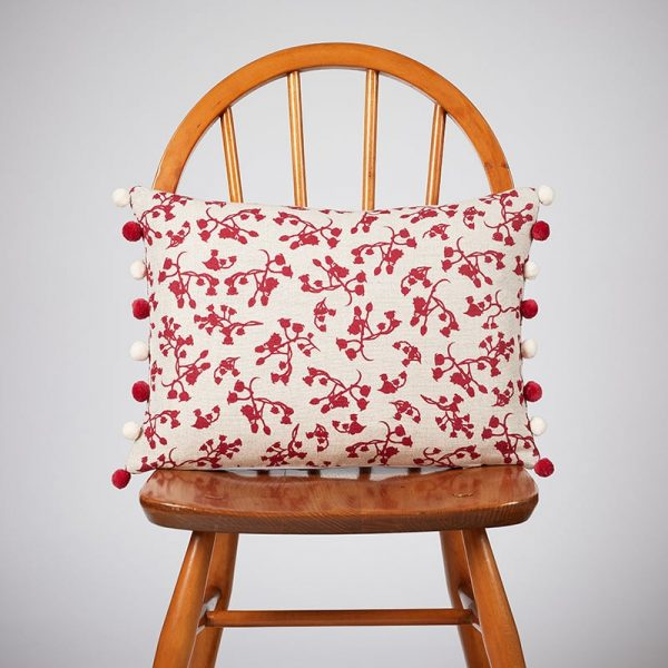 Milton and Manor Berries Red Rectangle Cushion with Pompoms