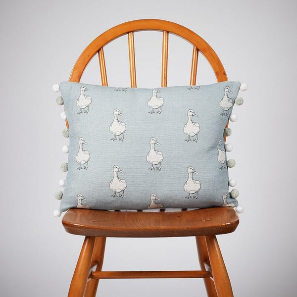 Milton and Manor Duck on Blue Rectangle Cushion with Pompoms
