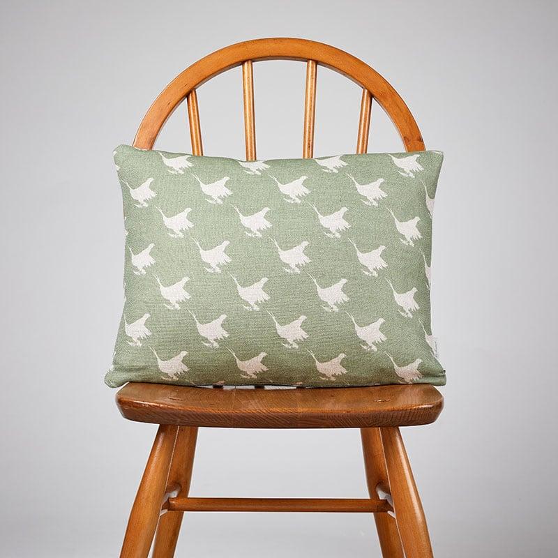 Milton and Manor Pheasant Green block Rectangle Cushion
