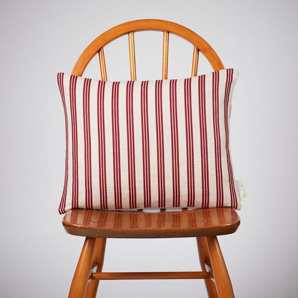 Milton and Manor Thin Stripe Red Rectangle Cushion