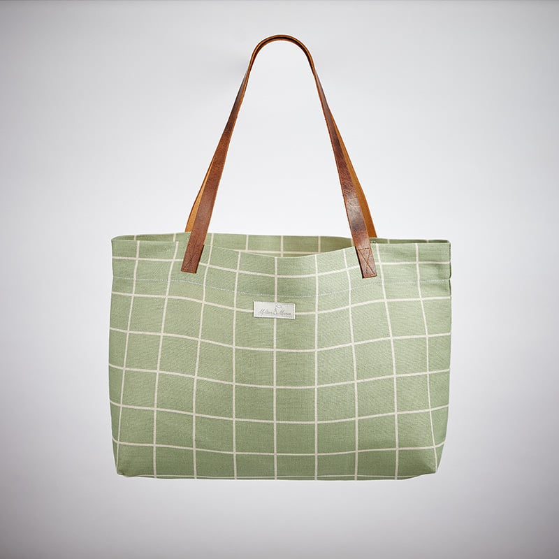 Milton and Manor Green Check Linen Bag