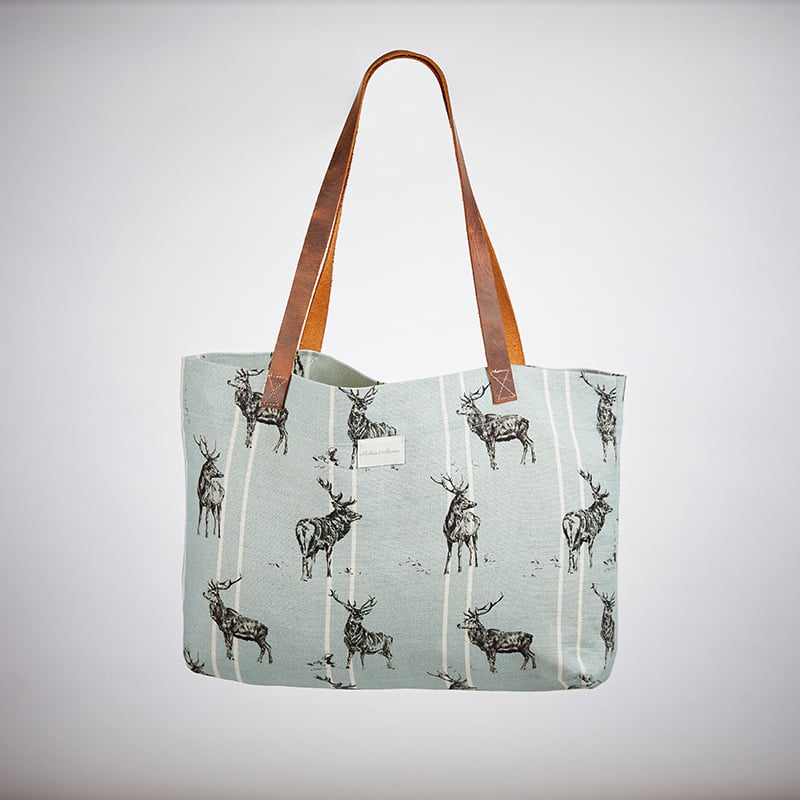 Milton and Manor Stag with Duck Egg Stripe Linen Bag