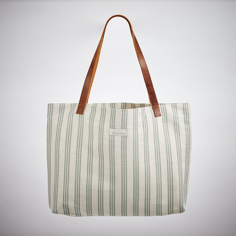 Milton and Manor Thin Duck Egg Strip Linen Bag