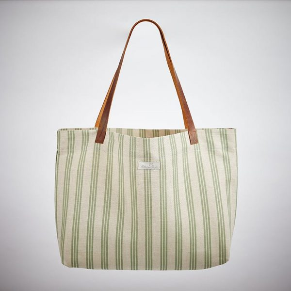 Milton and Manor Thin Green Strip Linen Bag
