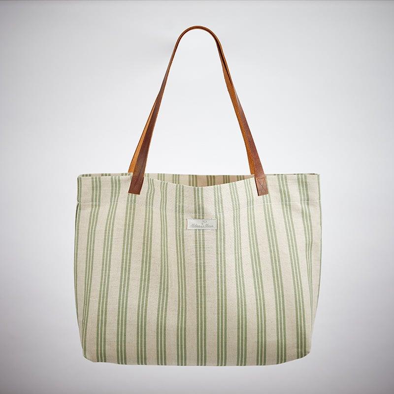 Milton and Manor Thin Green Strip Linen Bag