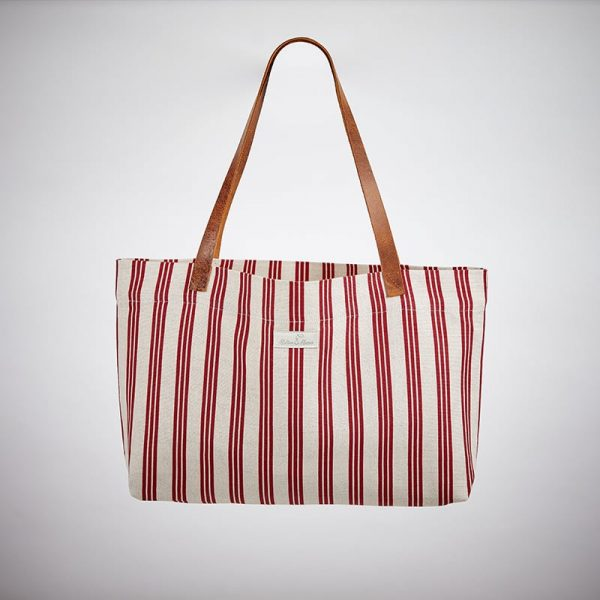 Milton and Manor Thin Red Strip Linen Bag