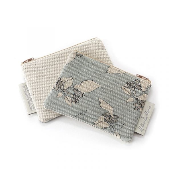 Milton and Manor Hedera on Duck Egg Linen Purse