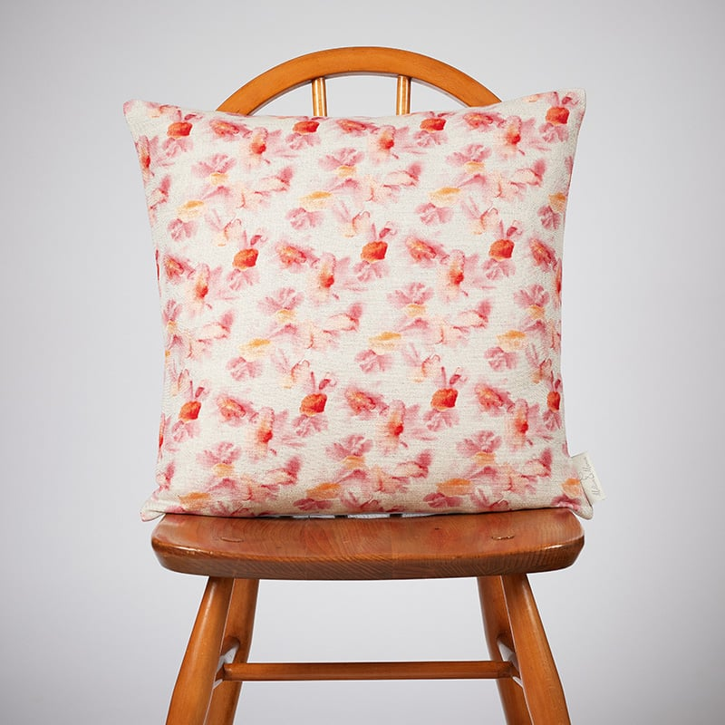 Milton and Manor Hazy Blooms Red Medium Cushion
