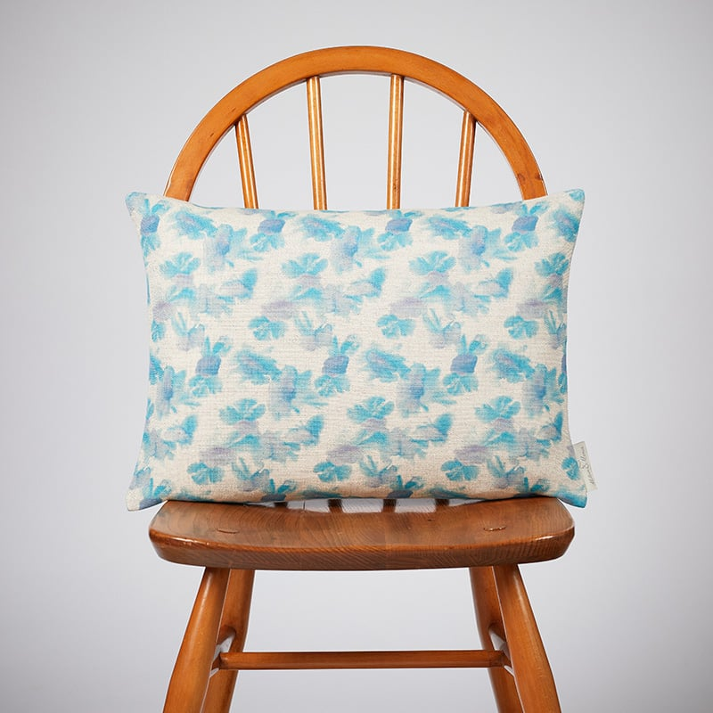 Milton and Manor Hazy Blooms Blue Rectangle Cushion
