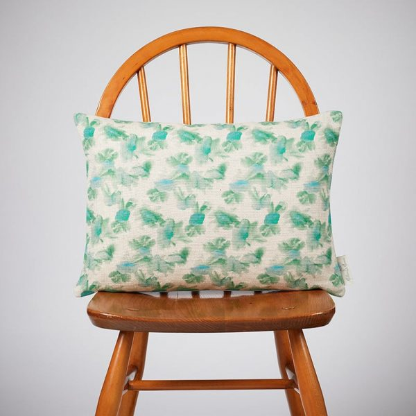 Milton and Manor Hazy Blooms Green Rectangle Cushion