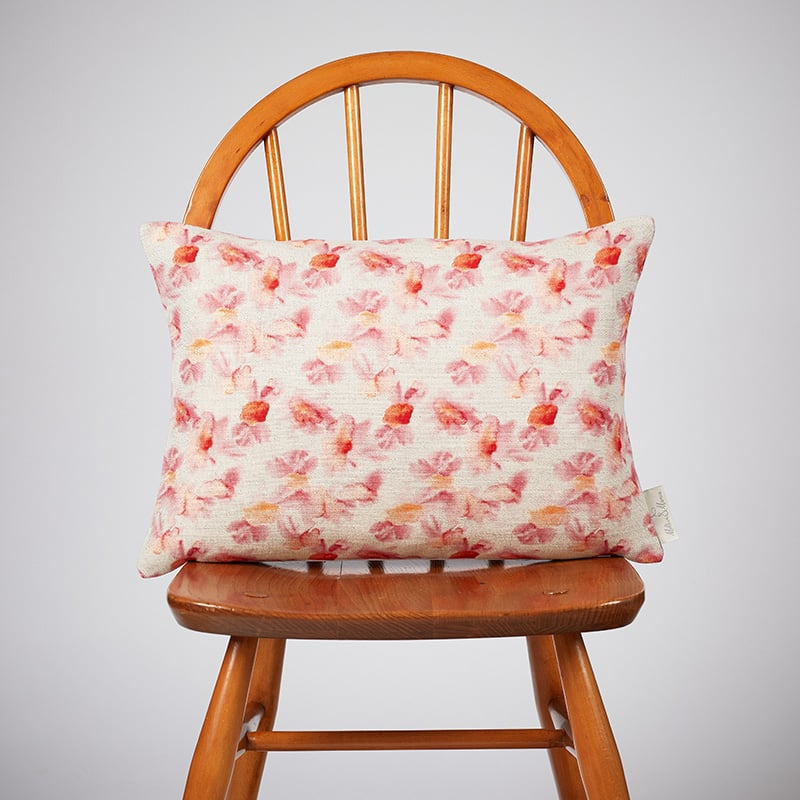 Milton and Manor Hazy Blooms Red Rectangle Cushion