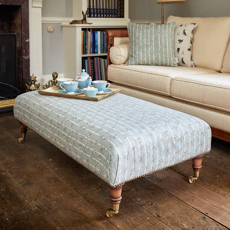 Milton and Manor Hedera Duck Egg Stripe Large Footstool