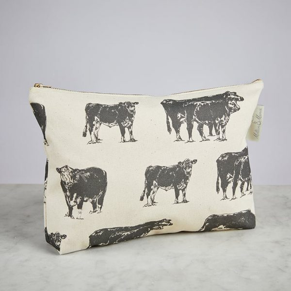 Milton & Manor Hereford Cow Grey Cosmetic Bag
